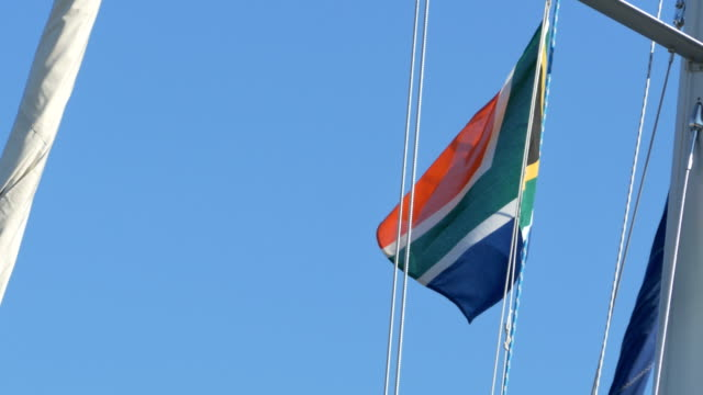 South Africa Flag on Mast video
