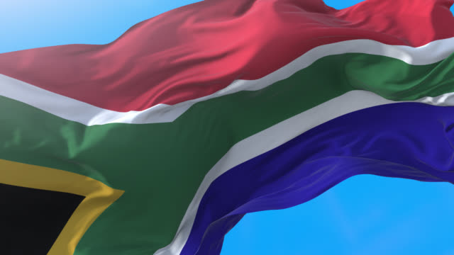 South Africa flag waving in wind 4K
