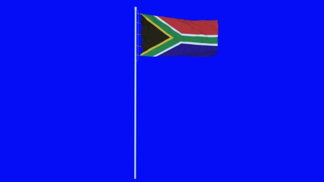 South Africa Flag Waving on wind on blue screen or chroma key background. 4K animation