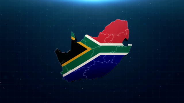 4K South Africa map with national flag