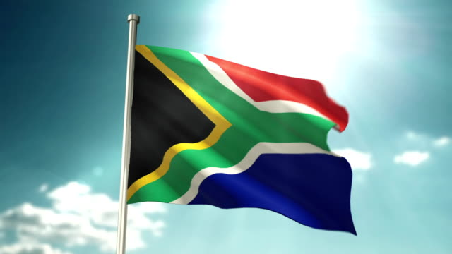 4K South Africa Republic Flag video