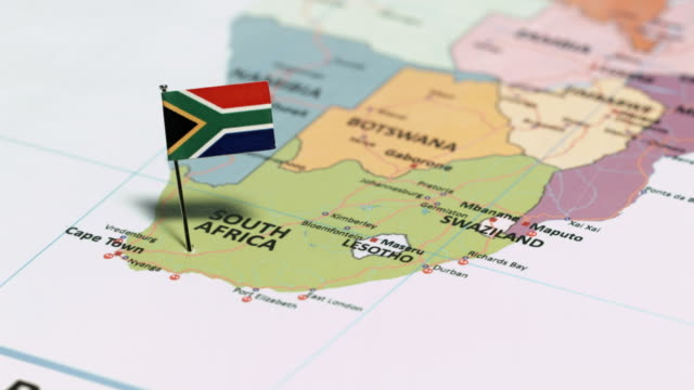 South Africa with National Flag