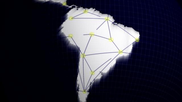 vídeos de stock, filmes e b-roll de conceito de rede na américa do sul - brazil map