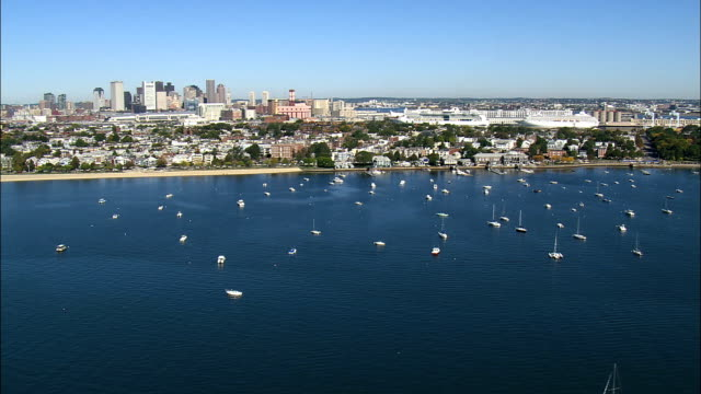 South Boston District  - Aerial View - Massachusetts,  Suffolk County,  United States video