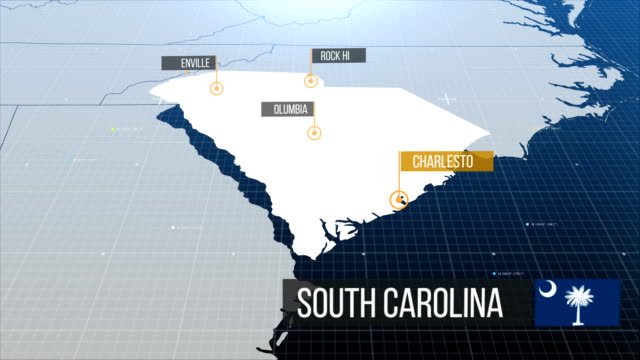 South Carolina map map with a label then without a label south carolina stock videos & royalty-free footage