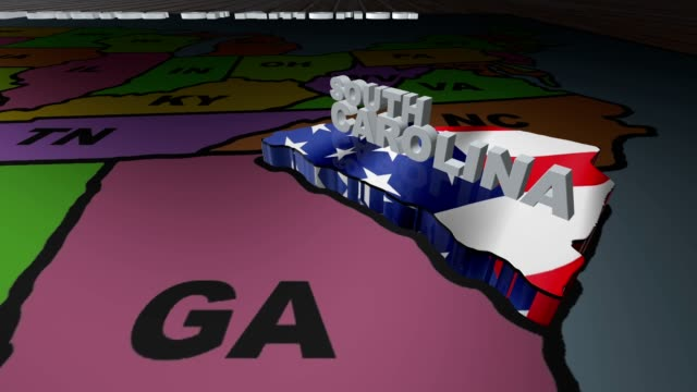 South Carolina pull out from USA states abbreviations map video