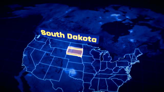 vídeos y material grabado en eventos de stock de estados unidos dakota del sur estado frontera visualización 3d, contorno del mapa moderno, viajes - mount rushmore