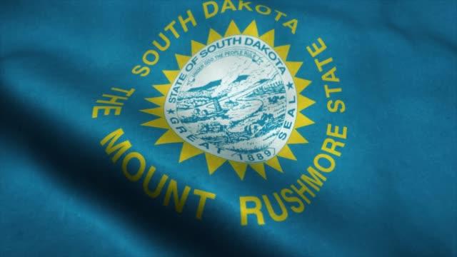 South Dakota State flag waving in the wind. National flag of South Dakota. Sign of South Dakota State seamless loop animation. 4K