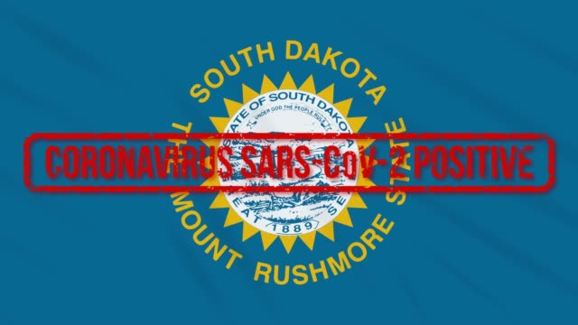 South Dakota US state swaying flag stamped with positive response COVID-19, loop