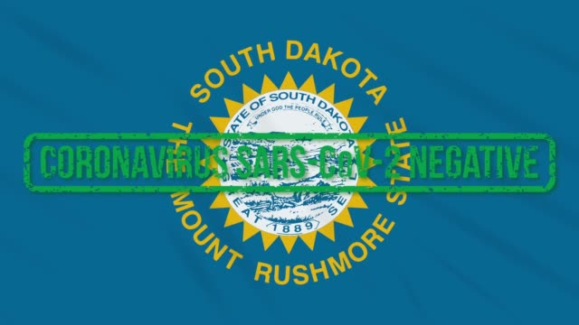 South Dakota US state swaying flag with green stamp of freedom from coronavirus, loop