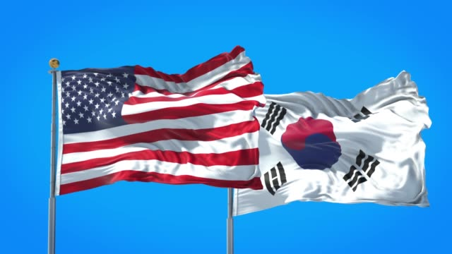 South Korea and United States flag waving in deep blue sky together. High Definition 3D Render. South Korea and United States flag waving in deep blue sky together. High Definition 3D Render. south korea stock videos & royalty-free footage