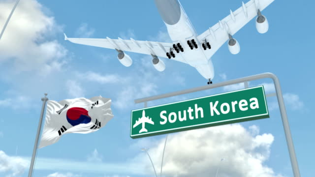 South Korea, approach of the aircraft to land - video
