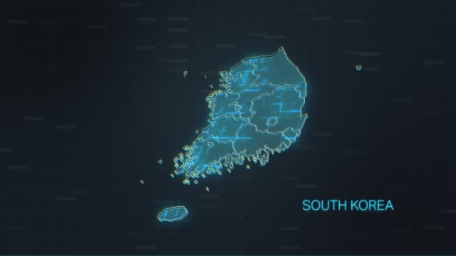 vídeos de stock e filmes b-roll de south korea map with world map - coreia do sul