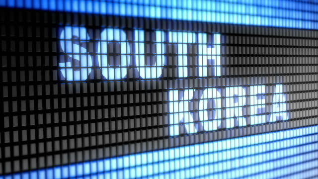 'South Korea' on the screen. Looping. video