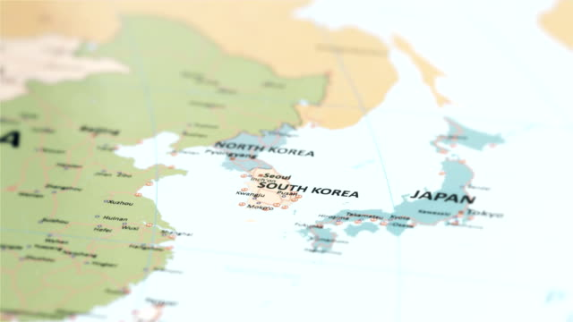 dünya haritası üzerinde asya güney kore - güney kore stok videoları ve detay görüntü çekimi