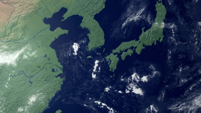 south korea  pops up after earth zoom  (with alpha matte) - güney kore stok videoları ve detay görüntü çekimi