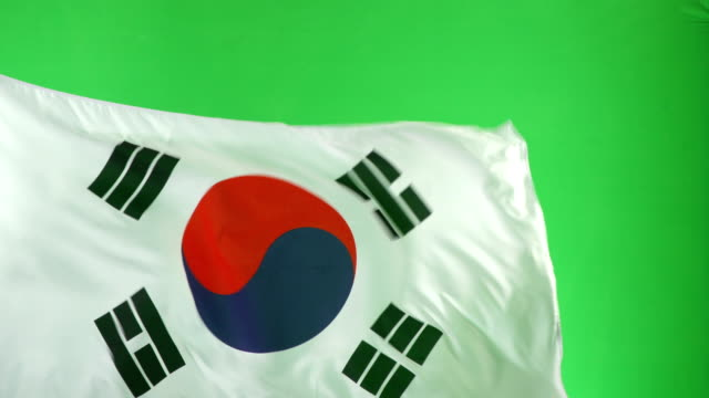 4K: South Korean Flag on green screen, Real video, not CGI (South Korea) video