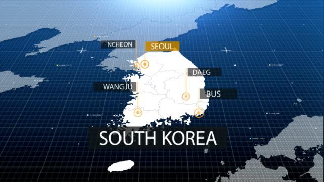 vídeos de stock, filmes e b-roll de sul-coreano mapa com rótulo então com para fora a etiqueta - coreia