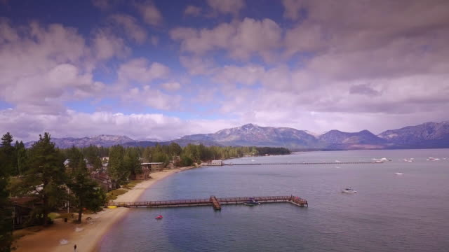 South Lake Tahoe Shoreline - Aerial View - vídeo