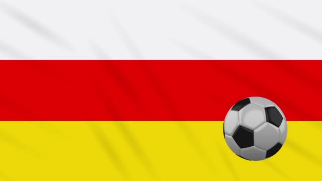 south ossetia flag and soccer ball rotates on background of waving cloth, loop - campionato video stock e b–roll