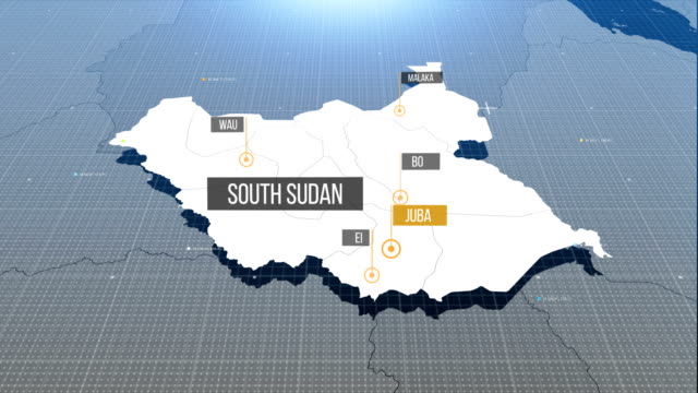 south sudan map with label then with out label - sudan del sud video stock e b–roll