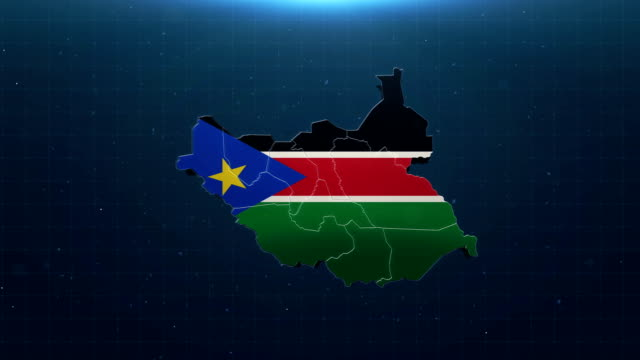 4k south sudan map with national flag - sudan del sud video stock e b–roll