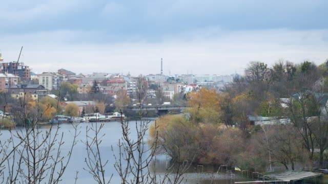 Southern Bug River and a view of the Old City Bridge in the late autumn period (Ukraine, Vinnitsa) video