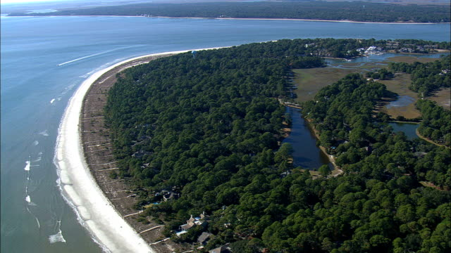 Southern End Of Hilton Island  - Aerial View - South Carolina,  Jasper County,  United States This clip was filmed by Skyworks on HDCAM SR 4:4:4 using the Cineflex gimbal. South Carolina,  Jasper County,   United States south carolina stock videos & royalty-free footage