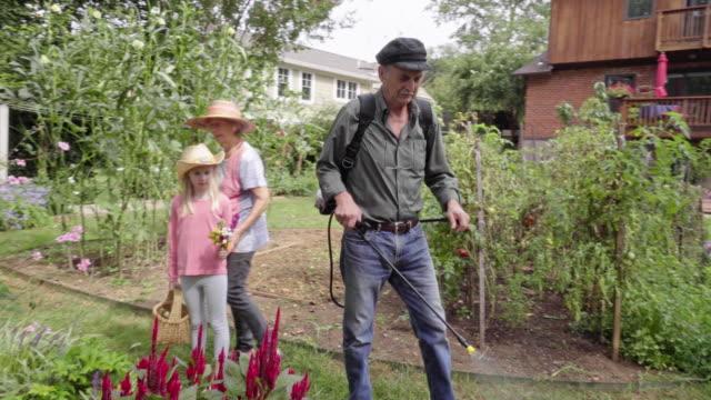 南ヨーロッパの祖父溶射彼の庭 ビデオ
