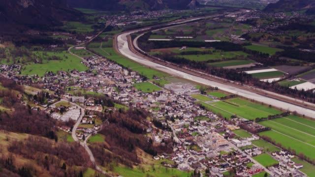 Southern Liechtenstein and the River Rhine - Drone Shot video