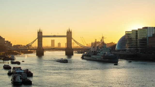 T/L Southwark Bank and Tower Bridge at sunrise video