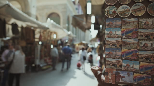 Souvenirs and leather street market in Florence, Italy video