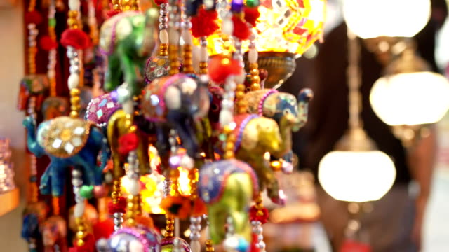 souvenirs decoration travel - souk video stock e b–roll