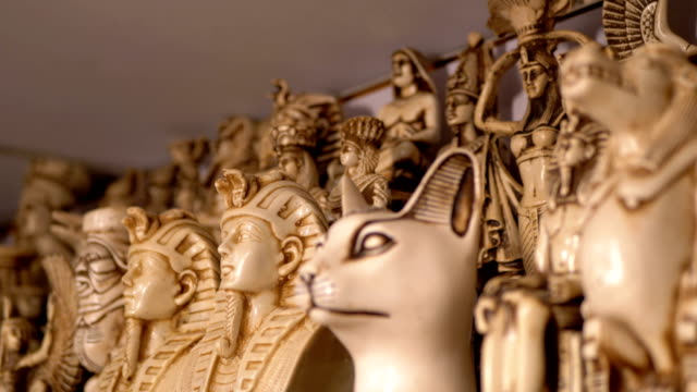 Souvenirs Egyptian Cats of Stone and other Products on Store Shelves in Egypt