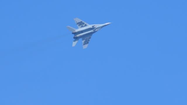 USSR Soviet era Military Interceptor Aircraft MiG29 at High Speed in Blue Sky