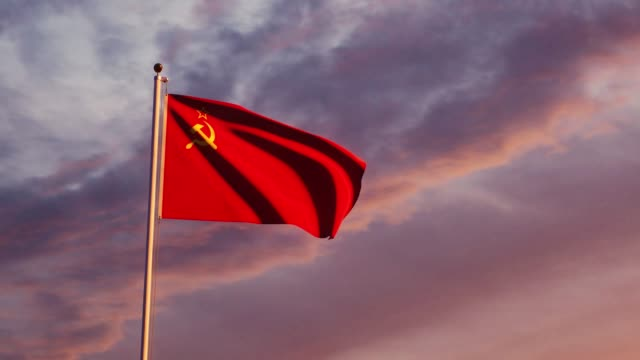 Soviet Russian flag a symbol of the USSR and communist history - 4k
