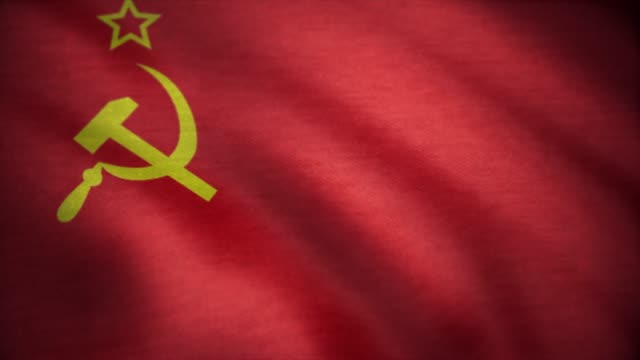 soviet union flag waving. ussr flag waving animation - bandiera nazionale video stock e b–roll