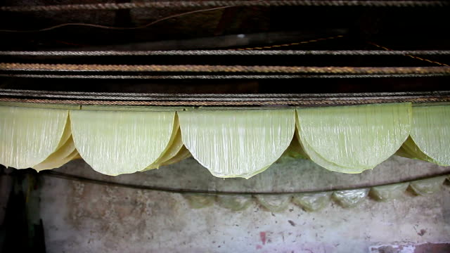 soybean milk boiling and dried for soy bean skin, traditional chinese food workshop video