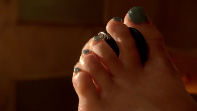Spa feet treatment with hot stones video