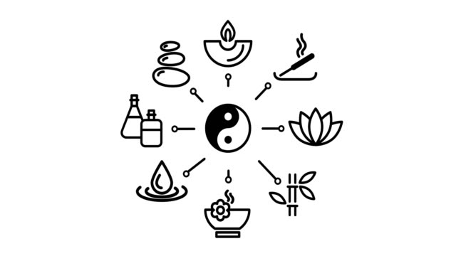 spa-symbol - meditation icon stock-videos und b-roll-filmmaterial