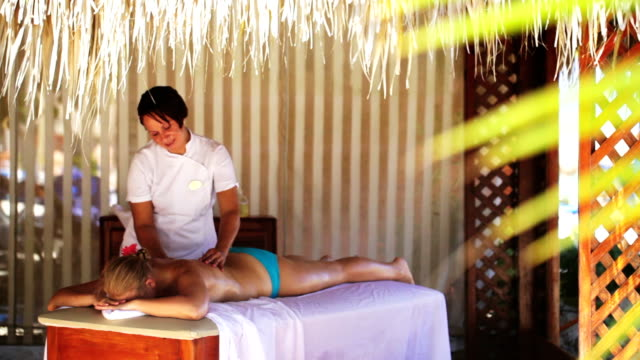 Spa treatment massage in gazebo video