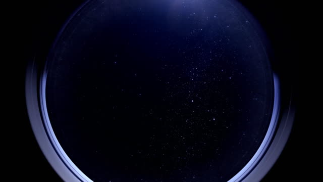 Space as seen through window of International Space Station ISS video