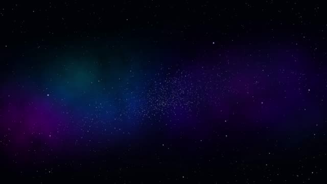 Video Space background. Camera is flying through the blue and magenta coloured nebula. The stars are everywhere around. seamless loop