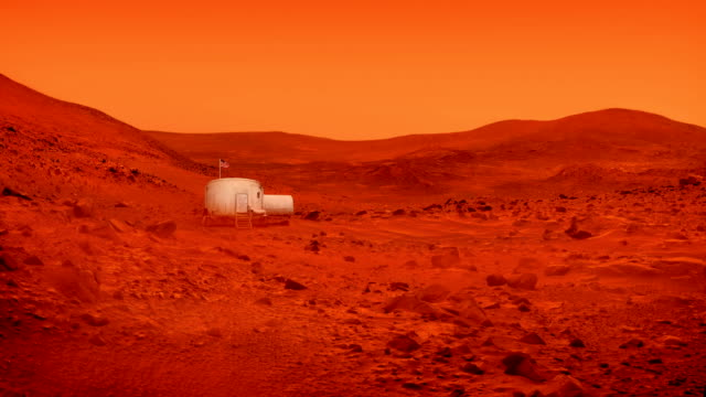 Space Base On Mars With American Flag Small living unit on Mars with dust blowing around surface level stock videos & royalty-free footage