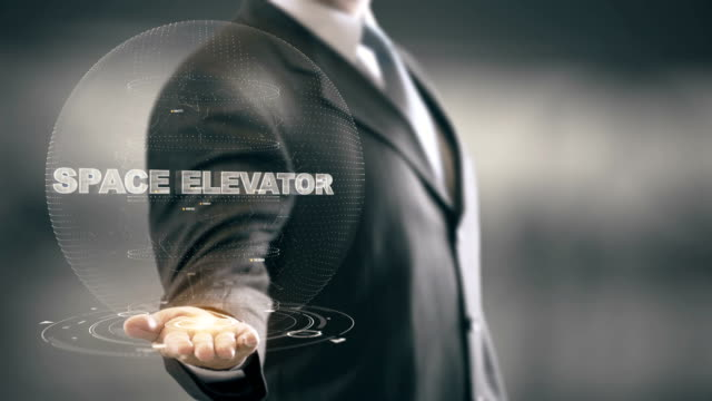 Space Elevator with hologram businessman concept video