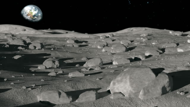 Space Exploration - View of Earth of Moon Surface America Space Exploration - A view of planet earth from the moons lunar surface with rocks, craters, and stars. extreme terrain stock videos & royalty-free footage