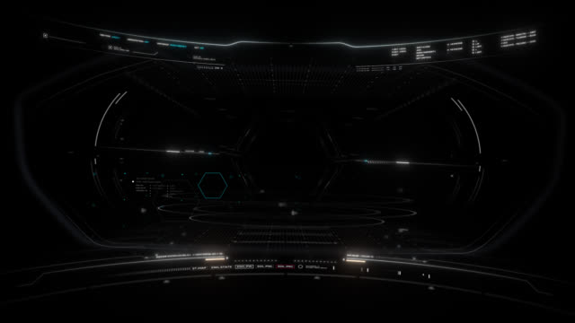 Space Flight Cockpit HUD Overlay Futuristic space cockpit overlay with detailed HUD animations. cockpit stock videos & royalty-free footage