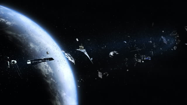 Space junk (pollution) orbiting earth video
