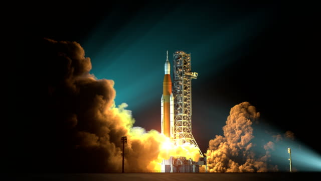 4k. space launch system nacht startet. - rakete stock-videos und b-roll-filmmaterial