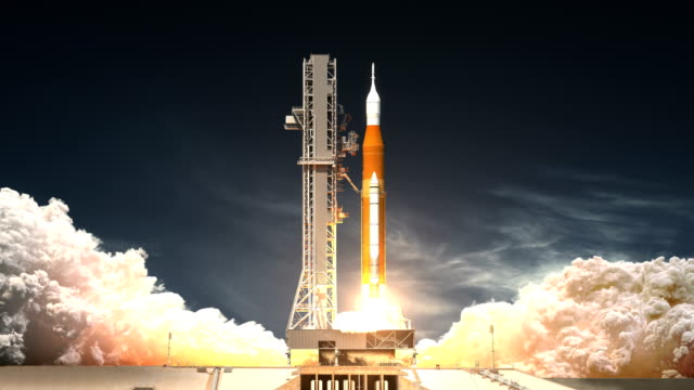 Space Launch System Takes Off. Realistic 3D Animation. 4K.